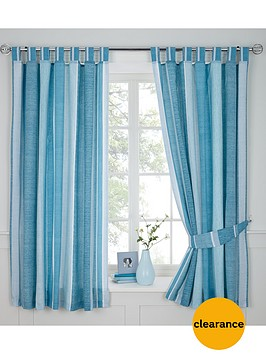 century-spot-and-stripe-eyelet-curtains-blue
