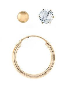be0c16424 Love GOLD 9 Carat Yellow Gold Mens Set of 3 Ball Stud, Hoop and Cubic  Zirconia Earrings