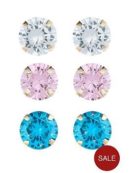 love-gem-9-carat-yellow-gold-set-of-3-cubic-zirconia-stud-4-mm-earrings