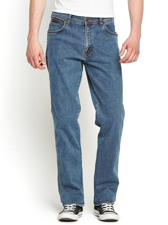 68f1a237 Wrangler Mens Texas Stretch Straight Jeans - Stonewash | very.co.uk