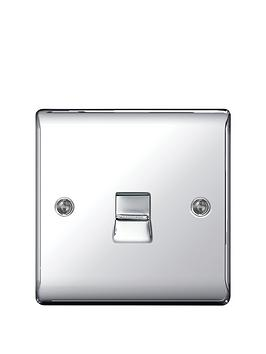 Photo of British general electrical raised telephone socket point - polished chrome
