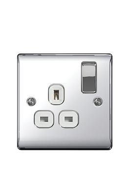 Photo of British general electrical raised 1g switched socket -13 amp- - polished chrome