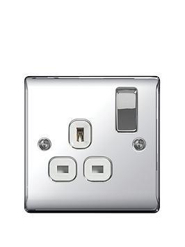 Photo of British general electrical raised 1g switched socket -13 amp- - polished chrome