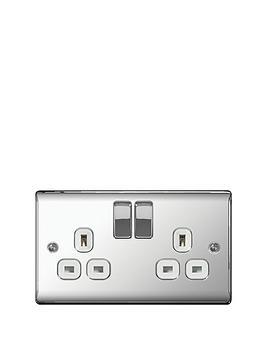 Photo of British general electrical raised 2g switched socket -13 amp- - polished chrome