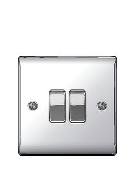 Photo of British general electrical raised 2g 2-way switch - polished chrome