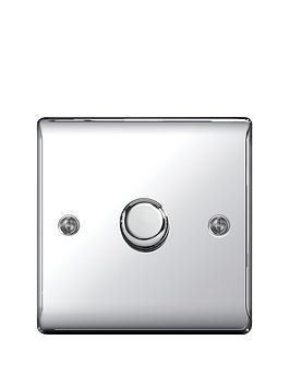 Photo of British general electrical raised 1g dimmer switch - polished chrome