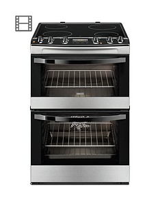 Zanussi ZCV68300XA 60cm Ceramic Electric Double Oven - Stainless Steel