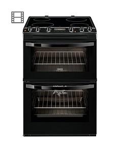 Zanussi ZCV68300BA 60cm Ceramic Double Oven Electric Cooker - Black