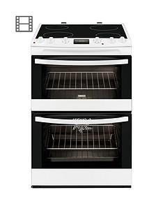 Zanussi ZCV68300WA 60cm Ceramic Double Oven Electric Cooker - White