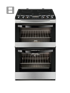 Zanussi ZCV48300XA 55cm Ceramic Electric Double Oven - Stainless Steel