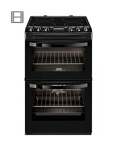 Zanussi ZCV48300BA 55cm Ceramic Electric Double Oven - Black