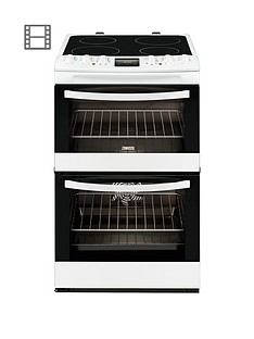 Zanussi ZCV48300WA 55cm Ceramic Electric Double Oven - White