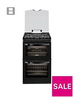 Zanussi ZCG43200BA 55cm Double Oven Gas Cooker - Black