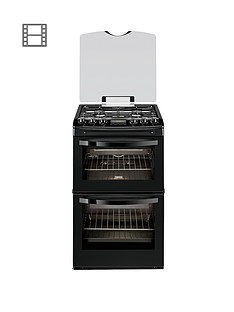Zanussi ZCG43200BA 55cm Double Oven Gas Cooker - Black