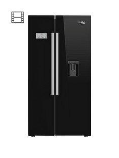Beko ASD241B American-Style Fridge Freezer with Non Plumbed Water Dispenser - Black