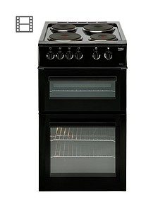 Beko BD533AK 50cm Freestanding Single Oven Electric Solid Plate Cooker - Black Best Price, Cheapest Prices