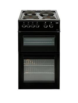 Image of Beko Bd533Ak 50Cm Freestanding Single Oven Electric Solid Plate Cooker - Black
