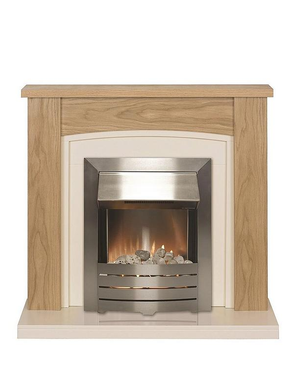 ELECTRIC OAK WOOD SURROUND SILVER BLACK MODERN FLAME FIRE FIREPLACE SUITE 48/""