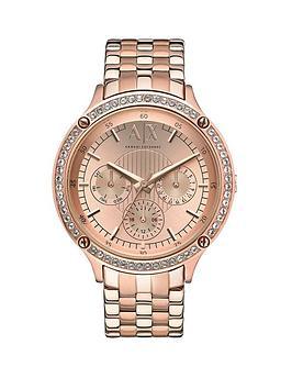 armani exchange ladies watches gifts jewellery very co uk armani exchange rose gold dial rose gold ip plated bracelet ladies watch