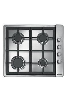 candy-clg64sgx-60cm-4-burner-gas-hob-with-cast-iron-pan-supports-and-side-control-knobs-stainless-steel