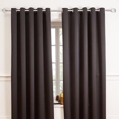 91 to 183 cm Black Basics 3 cm Curtain Rod with Cap Finials