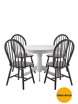 Kentucky white dining table 4 black chairs for Very small dining sets