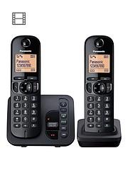 e86e89c73a91 Panasonic TGC-222EB Cordless Telephone with Answering Machine and Nuisance  Call Block - Twin