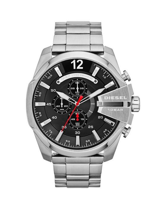 Diesel Mega Chief Chronograph Black Dial and Stainless Steel Bracelet Mens  Watch e106dd67ed0