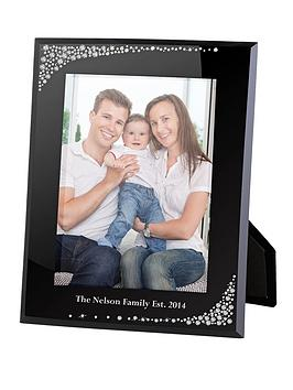 personalised-diamante-waterfall-black-glass-5-x-7-inch-photo-frame