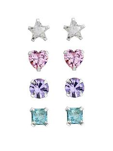 the-love-silver-collection-sterling-silver-set-of-4-multi-shaped-studs
