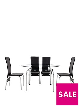 Varezze 130cm Glass Dining Table 4 Chairs