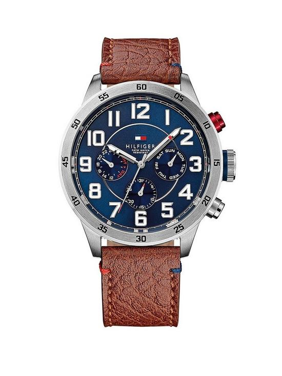 ec0b43cc7a0 Tommy Hilfiger Multi-Function Stainless Steel Brown Leather Strap Mens Watch
