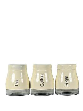 Sabichi cream 3 piece kitchen canister set for Cream kitchen set