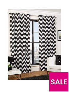 hamilton-mcbride-chevron-printed-lined-eyelet-curtains