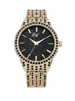 little-mistress-glitter-dial-black-stone-set-gold-tone-bracelet-ladies-watch