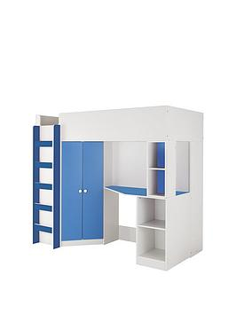 kidspace-new-metro-high-sleeper-bed-with-desk-wardrobe-shelves-and-optional-mattress
