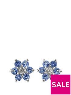 love-gem-9-carat-white-gold-tanzanite-and-diamond-flower-cluster-earrings