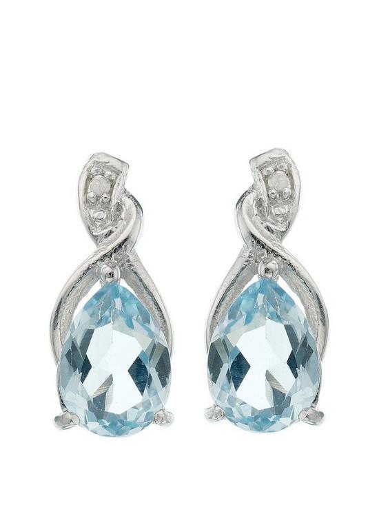 cf538bf7a Love GEM Sterling Silver Blue Topaz Diamond Set Drop Earrings | very ...