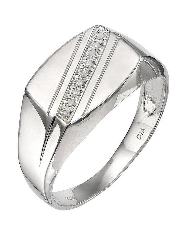db409e89ad2 Sterling Silver 5 Point Diamond Mens Signet Ring
