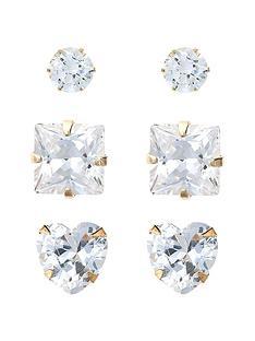 love-gold-9-carat-yellow-gold-set-of-three-cubic-zirconia-studs