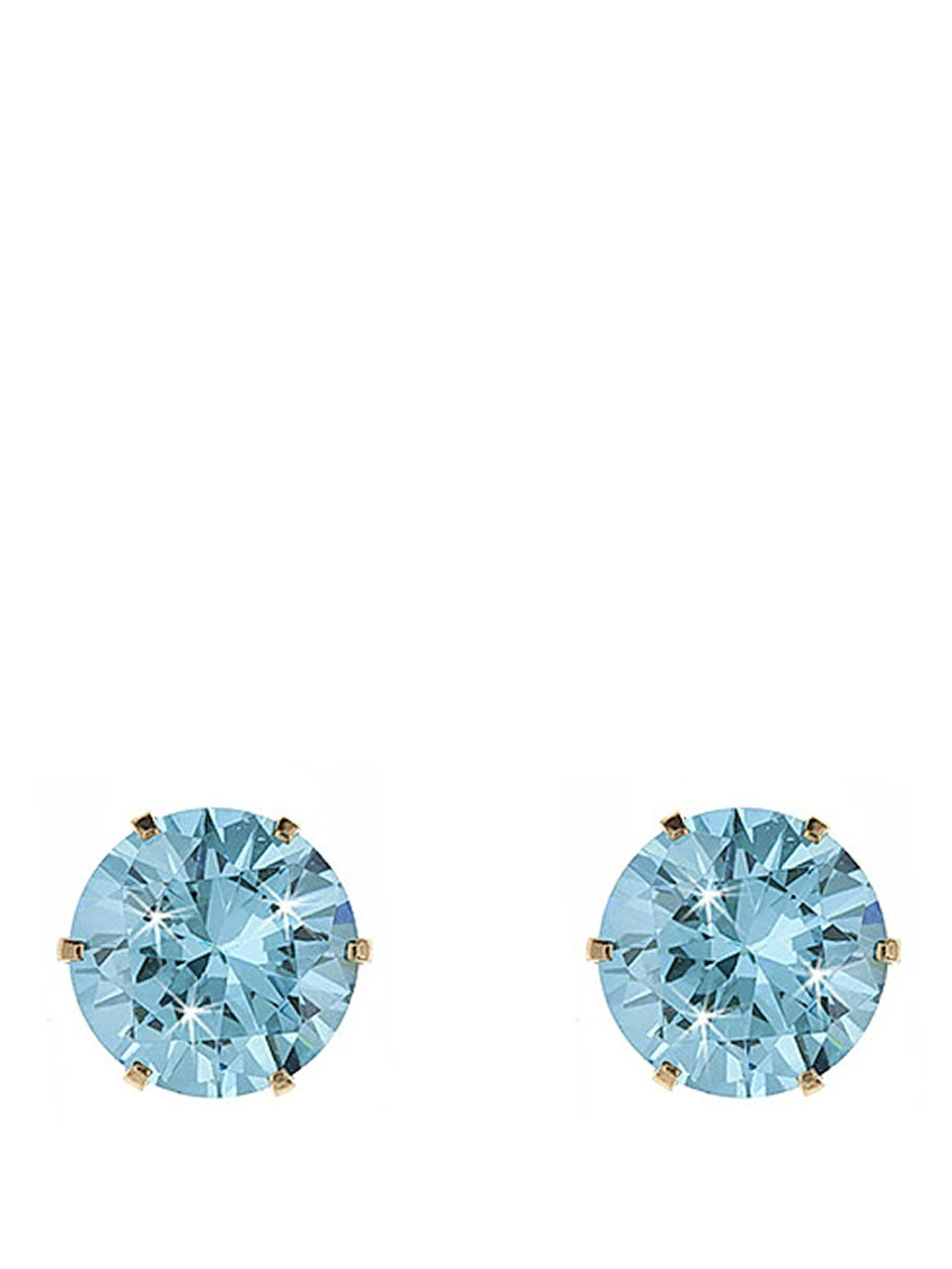 3mm 9ct Yellow Gold Champagne Cubic Zirconia Stud Earrings
