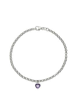 love-gem-9-carat-white-gold-amethyst-heart-drop-belcher-bracelet