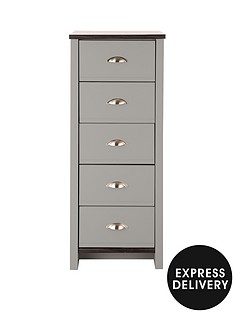 consort-tivoli-ready-assembled-5-drawer-chest-greywalnut-effect-5-day-express-delivery