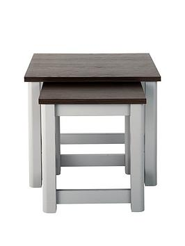 Consort Tivoli Ready Assembled Nest Of 2 Tables – Grey/Walnut-Effect