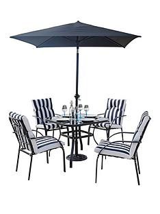 portland 6 piece steel set with cushions and 2m parasol