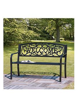 Large Iron Welcome Bench