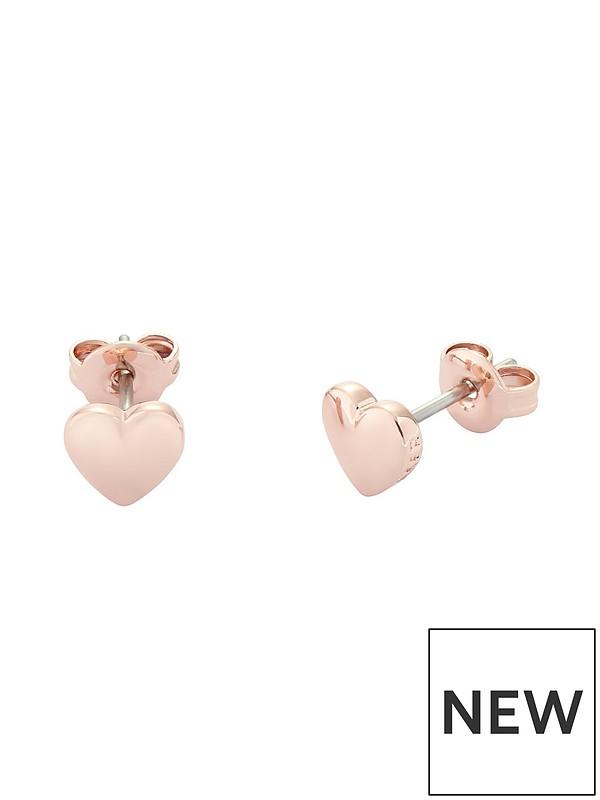 Ted Baker Heart Stud Earrings Rose Gold Very Co Uk