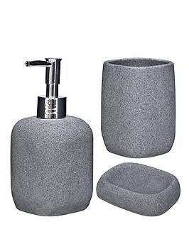 aqualona-greystone-3-pack-lotion-bottle-tumbler-and-soap-dish
