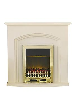 Adam Fires & Fireplaces Truro Electric Fireplace Suite With Brass Inset Fire