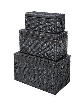 nested-lidded-arrow-weave-wicker-chests-black-set-of-3